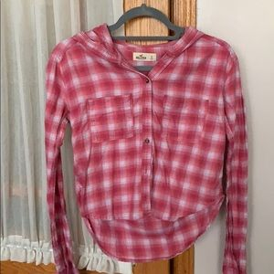 Hollister cropped pink and white flannel.